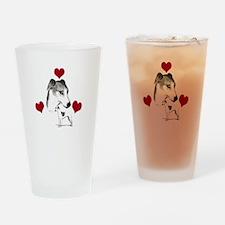 italian grey hound love n hearts Drinking Glass