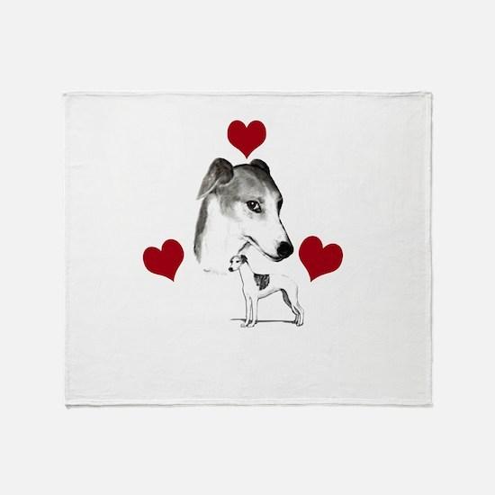 italian grey hound love n hearts Throw Blanket