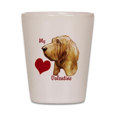 valentine bloodhound Shot Glass