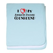 I Heart My Am. English Coonhound baby blanket