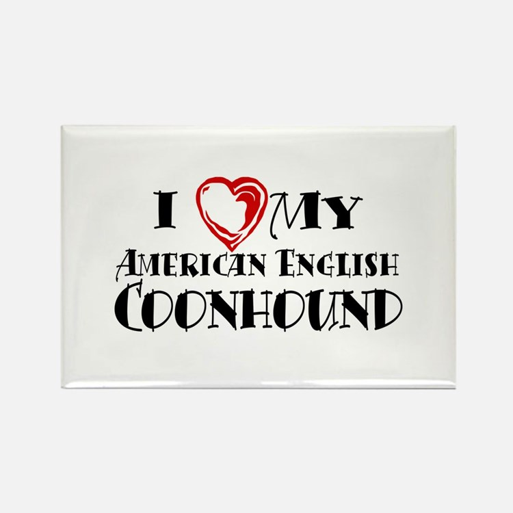 I Heart My Am. English Coonhound Rectangle Magnet