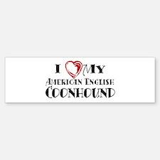 I Heart My Am. English Coonhound Sticker (Bumper)