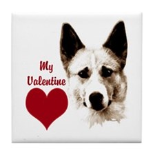 canaan dog valentine Tile Coaster