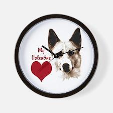 canaan dog valentine Wall Clock