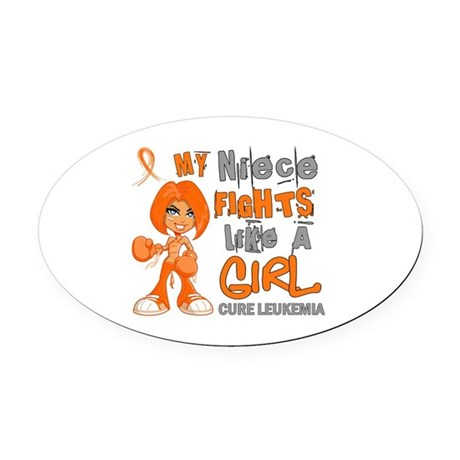 Fights Like a Girl 42.9 Leukemia Oval Car Magnet