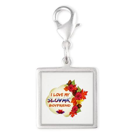 Slovak Boyfriend designs Silver Square Charm