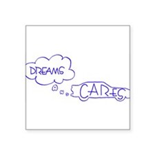 "Dreams and Cares Blue Logo Square Sticker 3"" x 3"""