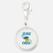 DBA Chick #3 Silver Round Charm