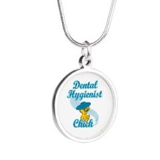Dental Hygienist Chick #3 Silver Round Necklace
