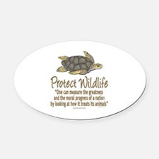 Protect Sea Turtles Oval Car Magnet