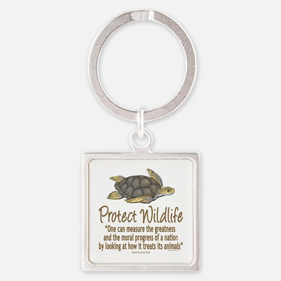 Protect Sea Turtles Square Keychain