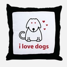 I Love Dogs Throw Pillow