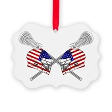 Two Lacrosse Helmets Ornament
