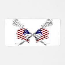 Two Lacrosse Helmets Aluminum License Plate