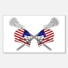 Two Lacrosse Helmets Decal