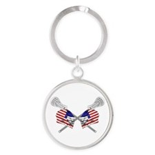 Two Lacrosse Helmets Round Keychain