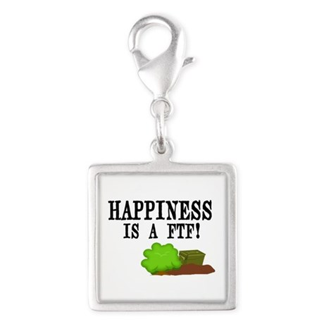 Happiness is A FTF Silver Square Charm