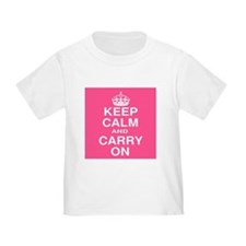 Keep Calm and Carry on Pink and White T