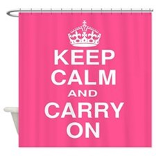 Keep Calm and Carry on Pink and White Shower Curta