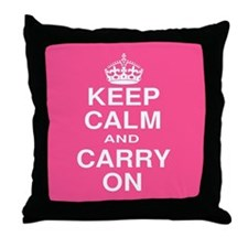 Keep Calm and Carry on Pink and White Throw Pillow