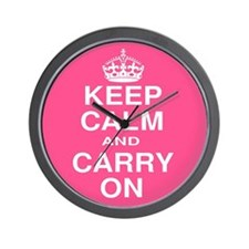Keep Calm and Carry on Pink and White Wall Clock