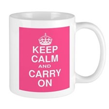 Keep Calm and Carry on Pink and White Mug