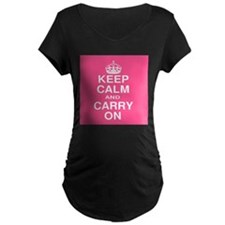 Keep Calm and Carry on Pink and White T-Shirt
