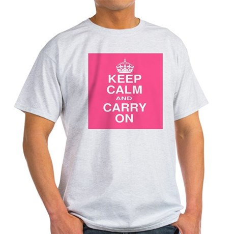 Keep Calm and Carry on Pink and White Light T-Shir