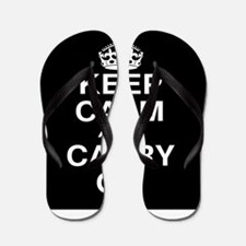 Keep Calm and Carry on Black and White Flip Flops