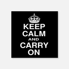 Keep Calm and Carry on Black and White Square Stic
