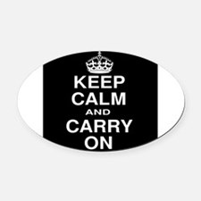 Keep Calm and Carry on Black and White Oval Car Ma