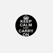 Keep Calm and Carry on Black and White Mini Button