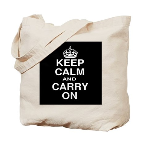Keep Calm and Carry on Black and White Tote Bag