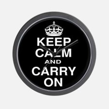 Keep Calm and Carry on Black and White Wall Clock
