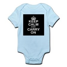Keep Calm and Carry on Black and White Infant Body