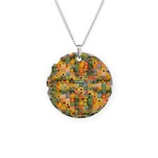 Spring Flower Patchwork Quilt Necklace