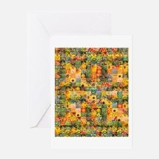 Spring Flower Patchwork Quilt Greeting Card