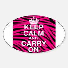 Keep Calm and Carry on Pink Zebra Stripes Decal