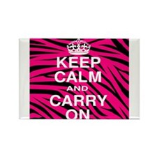 Keep Calm and Carry on Pink Zebra Stripes Rectangl