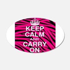 Keep Calm and Carry on Pink Zebra Stripes Wall Decal