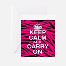 Keep Calm and Carry on Pink Zebra Stripes Greeting