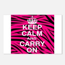 Keep Calm and Carry on Pink Zebra Stripes Postcard