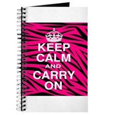 Keep Calm and Carry on Pink Zebra Stripes Journal