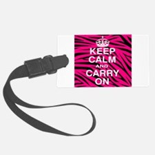 Keep Calm and Carry on Pink Zebra Stripes Luggage Tag
