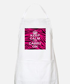 Keep Calm and Carry on Pink Zebra Stripes Apron