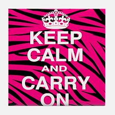 Keep Calm and Carry on Pink Zebra Stripes Tile Coa