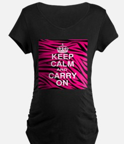 Keep Calm and Carry on Pink Zebra Stripes Maternit