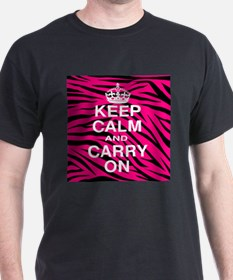 Keep Calm and Carry on Pink Zebra Stripes T-Shirt