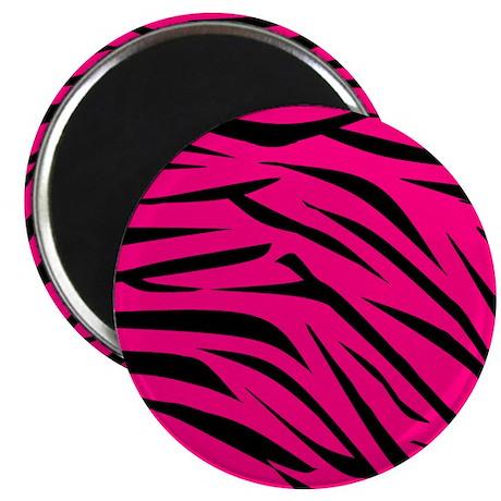 Zebra Stripes Print in Pink and Black Magnet