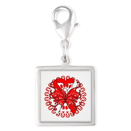 Aplastic Anemia Butterfly Silver Square Charm